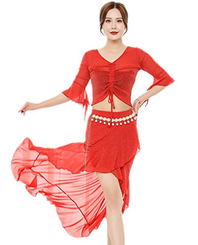 Buik Dans Rok Tops Kostuum Set voor Vrouwen, Dansende Grote Swing Rok en Tops Outfit,Performance Suit