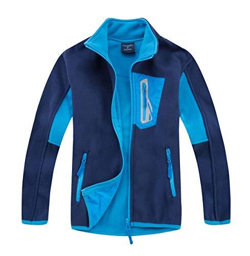 LAUSONS Fleecejacken für Jungen, Kinder Leichte Outdoor Fleece Jacke mit Reißverschluss, Dunkelblau, 9-10 Jahre/Größe XL