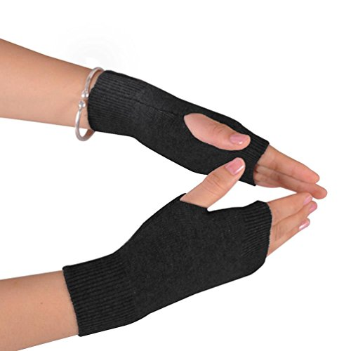 NOVAWO 100% Cashmere Half Fingerless Thumb Hole Warm Gloves Mittens for Men Women