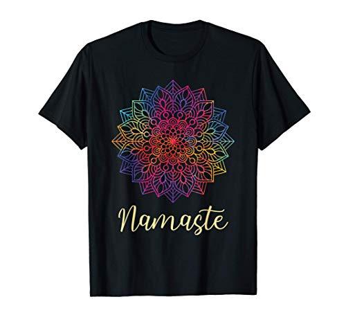 Rainbow Mandala Namaste Yoga Spiritual Mantra Meditation Camiseta