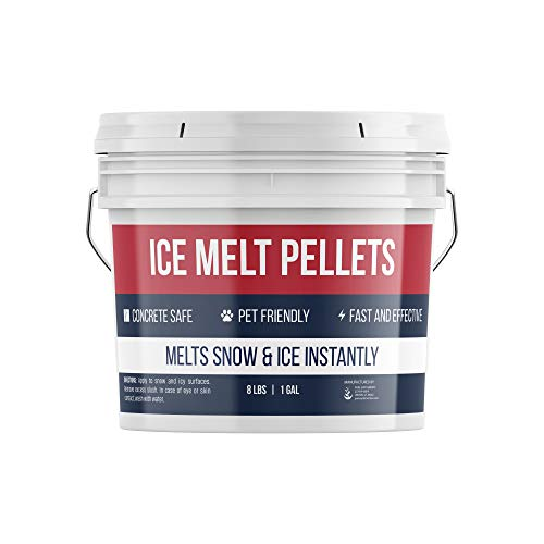 Pure Organic Ingredients Ice Melt Pellets (1 Gallon) Fast-Acting & Powerful, Pet & Eco-Friendly, Safe on Concrete, Asphalt & Wood, Non-Corrosive & Made in USA