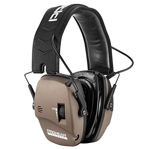 PROHEAR 036 Digital Electronic Shooting Ear Protection Muffs with GEP02 Gel Ear Pads, Hunting Sound Amplification Earmuffs, NRR 23dB Low Profile Hearing Protection for Gun Range - Brown