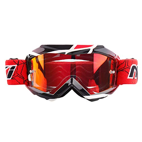 Youth Motocross ATV Goggles By NENKI For MX Motorcycle Dirt Bike Offroad Ski Snowboard with Anti Fog and 100% UV Protection Lens NK-1018 (Techline Red)