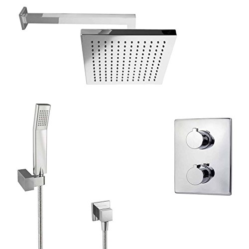 PaulGurkes Regendusche Unterputz Dusch Set mit Thermostat eckig Wandarm Wandmontage Regenbrause Tropendusche Luxusdusche Komfortbad einbaufertig Komplettsystem Dusche Duschtempel