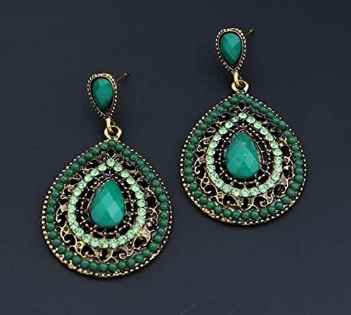 YANXIA Pendientes Largos Colgantes Vintage Rojos Boho Grandes Pendientes de Boda Azul Bohemio para Mujer Verde