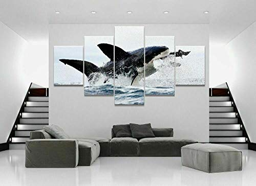 QZWXEC Meerestiere Great White Shark Breach/Poster 5 Teilig Leinwand Kunstdruck,HD Panel modern Lein wandbild,Wohnzimmer Home Poster Wand Puzzle Dekoration,Modulare Malerei,Gesamtgröße:150x80cm