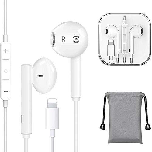 Auriculares para iPhone Auriculares con micrófono y Control de Volumen para iPhone 11 Pro Max/11 Pro/11/XS Max/XS/XR/X/7/7 Plus/8/8 Plus/SE/SE 2/iPad/iPod colocarse con Todos los Sistemas iOS