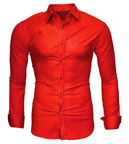 Kayhan Uni Hombre Camisa Slim fit, Red (XXL)
