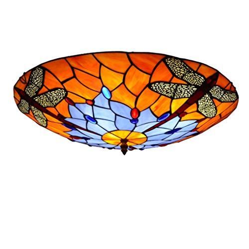 XMYX Plafón Tiffany, Lámpara de Techo de Montaje Empotrado con Pantalla de Lámpara de Vidrio...