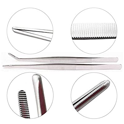 Long Tweezers 12 Inch - LeBeila Stainless Steel Tweezers Set Straight and Curved Gardening Nippers Feeding Tongs for Aquarium Fish Tank Aquatic Plants Reptile Snakes Lizards Spider