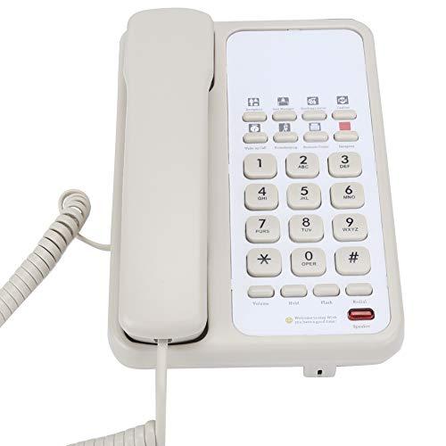 gostcai SN-0005 Oficina en casa Teléfono del Hotel Teléfono con Cable con Cable Teléfono Fijo de Escritorio con Altavoz, Tiempo de Flash Ajustable, Llamadas con Manos Libres, rellamada(Blanco)