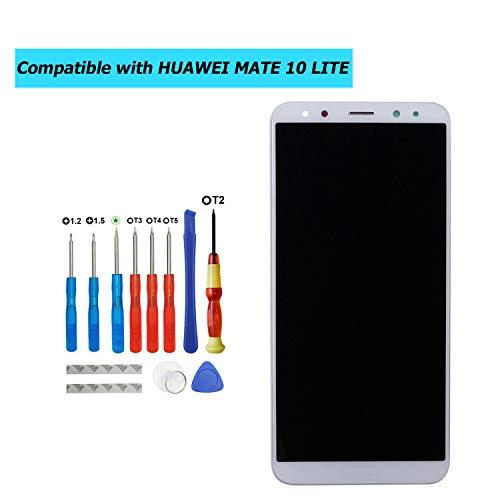 Upplus - Pantalla LCD de Repuesto Compatible con Huawei Mate 10 Lite, RNE-L01, RNE-L21, RNE-L23, Pantalla táctil LCD de Repuesto con Marco y Juego de Herramientas (Blanco)