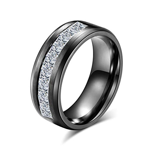 Anillo de Diamantes de Moda para Hombre/Mujer, Banda de Acero Inoxidable Punk Hip Hop Personalidad Joyería Regalo, Fiesta Prom Boy Girl Engagement Ring, Tamaño 8#-12#,Negro,9