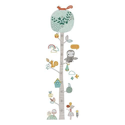 HUMINGG Gráficos de Crecimiento Pegatinas de la pared de la regla de la altura de la historieta Árbol de animales para niños Habitación Dormitorio Decoración para el hogar Calcomanías de pared Nursery