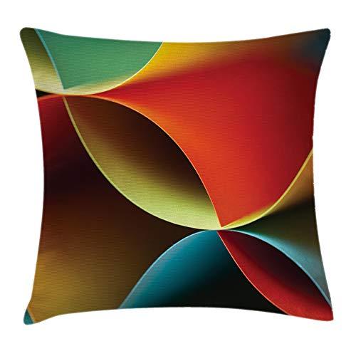 Funda de cojín abstracta, diseño de origami curvo con detalles de color, color naranja y blanco