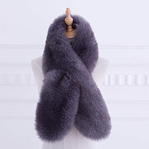 FGHOMEYWNSWJ für Damen Accessoires für Schals & Tücher Herbst und Winter, Fuchsfell, wildes, dickes, warmes Fell, Kunstfell, Lätzchen, Damenschal @ gray_100-135CM