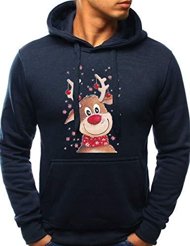 Weihnachten Pullover Herren, Unisex Männer Rudolph Rentier Elfe Weihnachtspulli Weihnachtspullover Damen Lustig Kinder Christmas Sweatshirt Jungen Elch Xmas Pulli Hoodie Kapuzenpullover (H,XL)