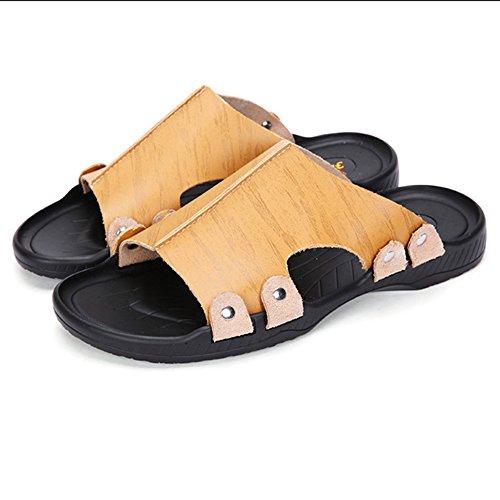 MAZHONG basses Sandales PU pieds et pantoufles pour hommes d'été Sandales antidérapantes Chaussures de plage Chaussures décontractées pour hommes ( Couleur : Le jaune , taille : EU39/UK6/CN39 )