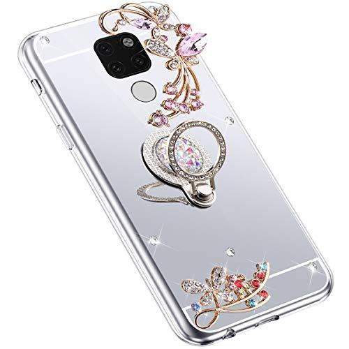 Uposao Kompatibel mit Huawei Mate 20 Hülle Glitzer Spiegel TPU Schutzhülle Bling Strass Diamant Silikon Hülle Glänzend Kristall Blumen Silikon Handyhülle mit Ring Ständer Halter,Silber