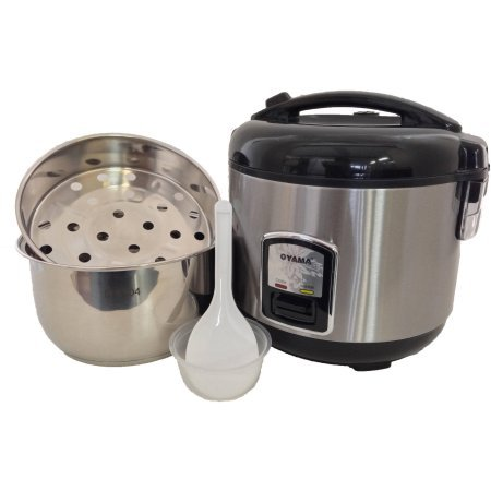 Oyama 10-Cup All Stainless-Steel Rice Cooker/Steamer/Warmer, Black