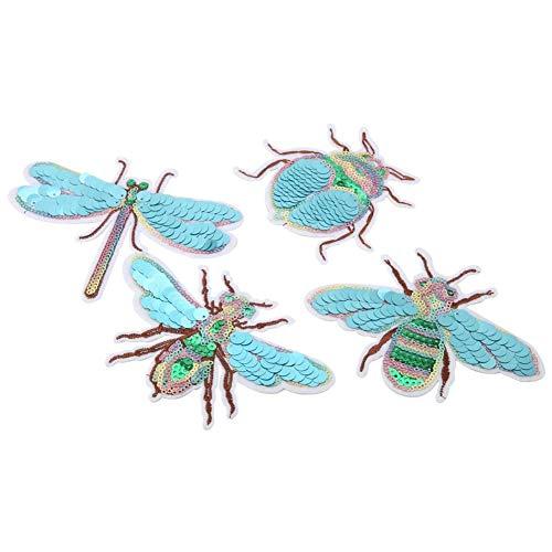Sheens 4 Piezas Parches de Lentejuelas de Insectos Apliques Bordados Adhesivos decoración de Bricolaje Ropa Coser Adhesivos Accesorios artesanales para Hombres Mujeres niños niñas niños