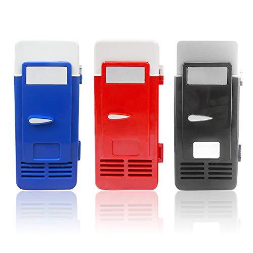 FLAUU Mini refrigerador congelador, Material del ABS, de Protección Ambiental, sin Olor, 194X90x90mm, Ahorro de energía, 5V, 10W, fácil de Llevar (Azul/Rojo/Negro),Rojo