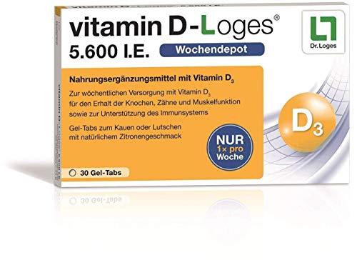 vitamin D-Loges® Tabletten Nahrungsergänzung – 30 Gel Tabs, 5.600 I.E, Wochendepot, für die ganze Familie, hochdosiert