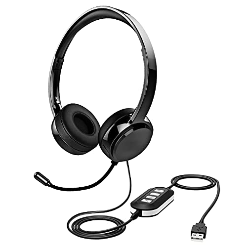 Stereo USB Headset with Microphone Noise Cancelling, Inline Volume Control & Mute Function, 3.5mm Kids Headphones with Mic for School, Wired Headphones for Skype, Zoom, Teams, Home Office, Call Center