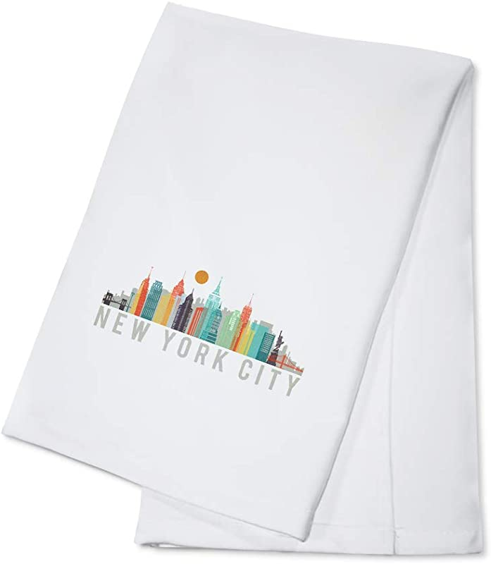 New York City City Vector Opacity White Version 100 Cotton Kitchen Towel