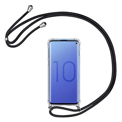 AROYI Handykette Handyhülle kompatibel mit Samsung Galaxy S10 Hülle mit Kordel zum Umhängen Necklace Hülle mit Band Schutzhülle Transparent Silikon Acryl Hülle Schwarz Silber