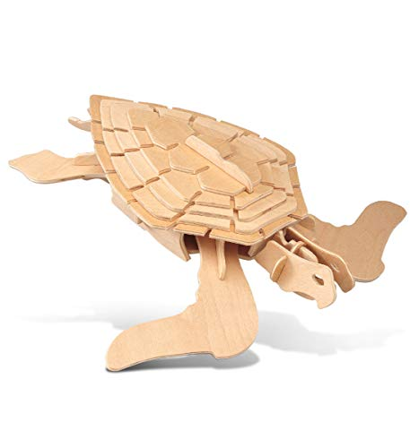 Puzzled 3D Puzzle Green Turtle Wood Craft Construction Model Kit, Fun Unique Educational DIY Wooden Toy Assemble Model Unfinished Crafting Hobby Puzzle, Build and Paint for Decoration 26 Pieces Pack