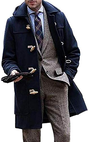 forevercos Mens Solid Color Lapel Longline Horn Button Pea Coat Trench Jacket Outerwear