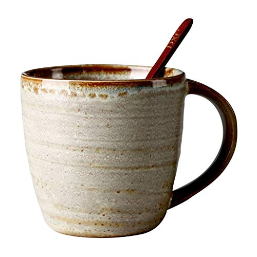 YIFEI2013-SHOP Tazas Taza de cerámica de la Personalidad de la Copa de Oficina con la Cuchara Retro del hogar Taza de Agua Lrge cpacity Hombres y Mujeres Copa Cffee Tazas de Café
