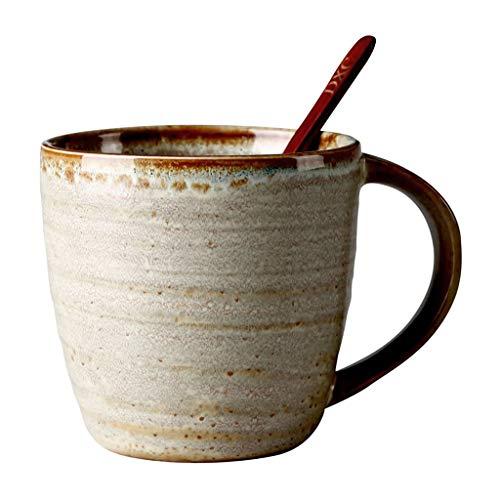 kerryshop Tazas para niños Taza de cerámica de la Personalidad de la Copa de Oficina con la Cuchara Retro del hogar Taza de Agua Lrge cpacity Hombres y Mujeres Copa Cffee Taza de té