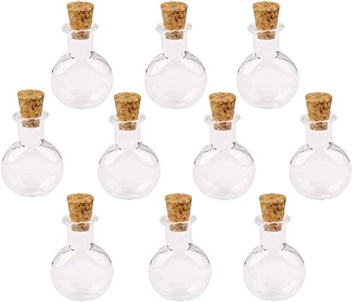 GDEVNSL Botellas de Deseos de Vidrio Claear mejoradas de 10 Piezas con Tapones de Corcho para Mensajes de Bodas