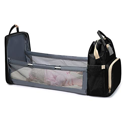 ComfyDegree Baby Crib Bed Backpack, Foldable Multi Function Portable Diaper Nappy Changing and Waterproof Travel Cot Bag for Infant (Black)
