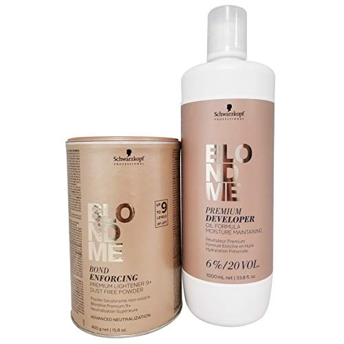 Schwarzkopf Professional Blond Me Premium Lift 9 Bleach and 6% Oil Formula Premium 20 Volume Developer Bundle