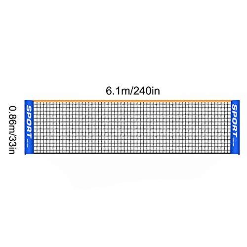 KYLMET 3–6 m tragbares, faltbares Tennisnetz für Kinder und Erwachsene, kurzes Tennisnetz für drinnen und draußen, mobiles Tennisnetz (ohne Stange) (6.1)