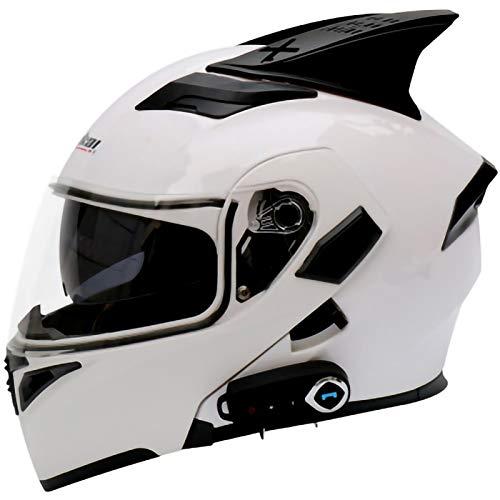 Raincoat Bluetooth Modular Motocicleta Casco,Motocross Gorras de Seguridad,Incorporado en MP3 FM Broadcast Integrado de Intercomunicación Sistema,Dot/ECE Certificado D,L=59~60cm