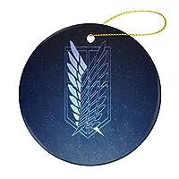 自由の翼クリスマス オーナメント 飾りース 小さい 装飾品 記念品 丸型 陶磁器 両面印刷 縄をかける 7.2cm クリスマスツリーオーナメント