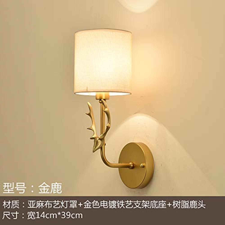Amerikanische wandleuchte wohnzimmer wand TV wandleuchte kreative persnlichkeit retro licht luxus Europischen Nordischen schlafzimmer nachttischlampe, rotes Gold hirsch