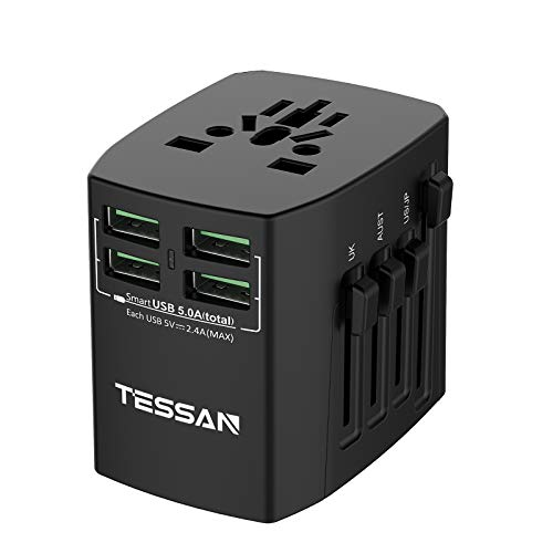 TESSAN Universal Reiseadapter Reisestecker Weltweit mit 4 USB Internationaler Steckdosenadapter 25W/5A Stromadapter für 224 Ländern, Travel Adapter für UK/Italien/USA/England/Japan/China