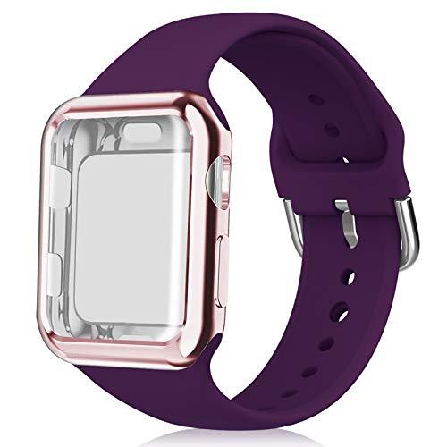 Huishang Compatible para Apple Watch Band 38 mm 40 mm 42 mm 44 mm con Protector de Pantalla, Silicona Suave Sport Reemplazo de Pulsera para iWatch Series 4 3 2 1