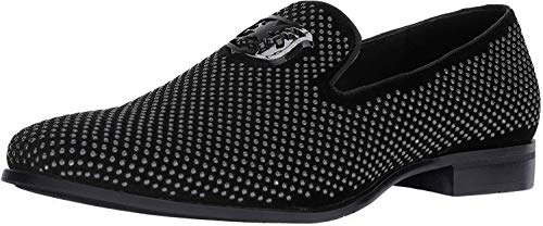 STACY ADAMS mens Swagger Studded Slip on Loafer, Black, 12 US