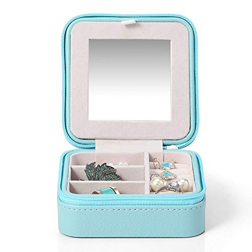Drametree Boîte à bijoux miroir de maquillage portable compact bijoux Boîte de rangement Boucles d'oreilles Boîte de bague (Color : Bleu)