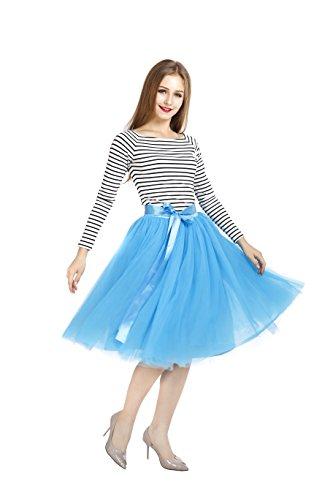 COLLEER Falda Corta 7 Capa de Gasa Tul, La Gasa de La Enagua de Tul de Múltiples Capas, Falda Plisada Retro Danza Ballet y Tacones o Zapatillas de Deporte, Enaguas para Boda y Fiesta (Azul)