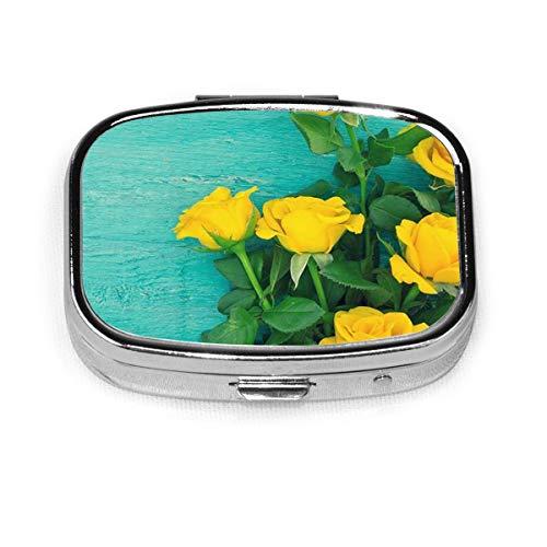 MSACRH Square Pill Box, Yellow Roses Pill Case Portable 2 Compartment Medicine Case Mini Travel Pill Vitamin Decorative Box for Men Women