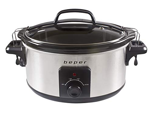 Beper 5.5 Litri Slow Cooker-PENTOLA per LA Cottura LENTA 5,5 Litri, per 6 Persone, 260 Watt, W, Acciaio Inossidabile