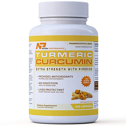 Natural Turmeric Curcumin Supplement with Piperine - 120 Capsules - Made in Canada