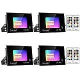 Onforu Foco RGB Exterior Led con Control Remoto, 12w Foco Colores, Foco led Interior de Cambio Color, IP66 Impermeable Foco Led con Temporizador, Función de Memoria para Fiesta Jardín Patio (4 Pack)